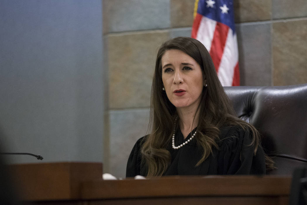 Justice of the Peace Harmony Letizia during the preliminary hearing for Assuan Martinez, who is accused of killing his infant son, at the Regional Justice Center in Las Vegas, on Wednesday, Aug. 3 ...