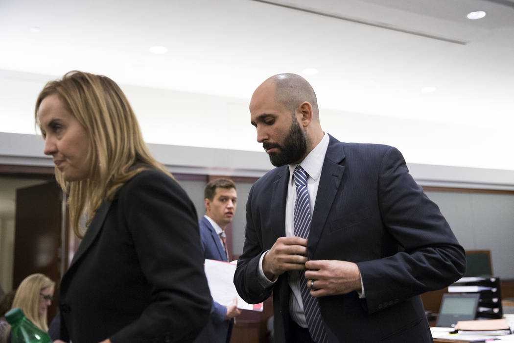Assuan Martinez, who is accused of killing his infant son, during his preliminary hearing at the Regional Justice Center in Las Vegas on Wednesday, Aug. 30, 2017. Erik Verduzco Las Vegas Review-Jo ...