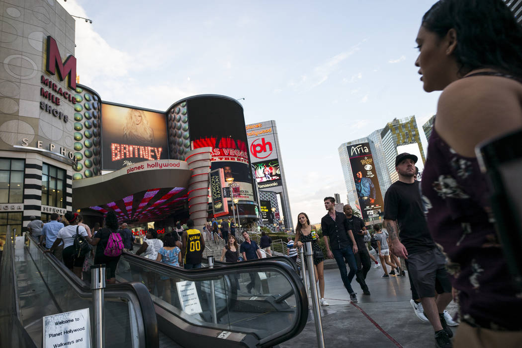 Tourists walk along the Strip outside of Planet Hollywood Resort on Wednesday, Aug. 30, 2017 in Las Vegas. Chase Stevens Las Vegas Review-Journal @csstevensphoto