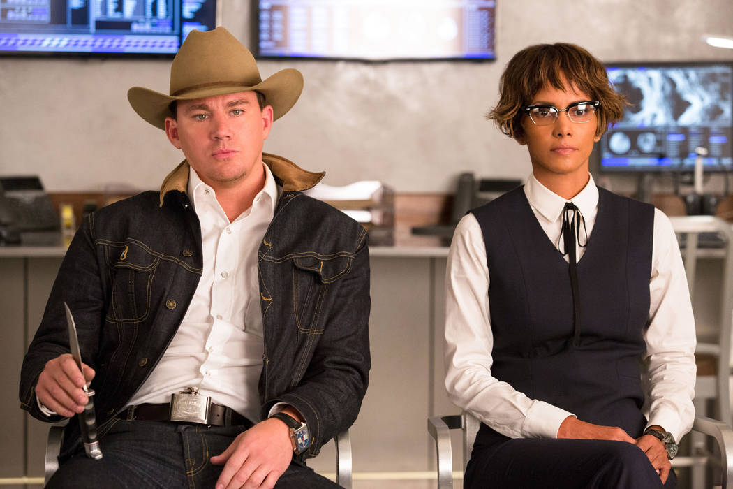 "Channing Tatum and Halle Berry in Twentieth Century Fox's ""Kingsman: The Golden Circle,"" also starring Colin Firth, Taron Egerton, Julianne Moore, Mark Strong, Elton John, and Jeff Bridges."