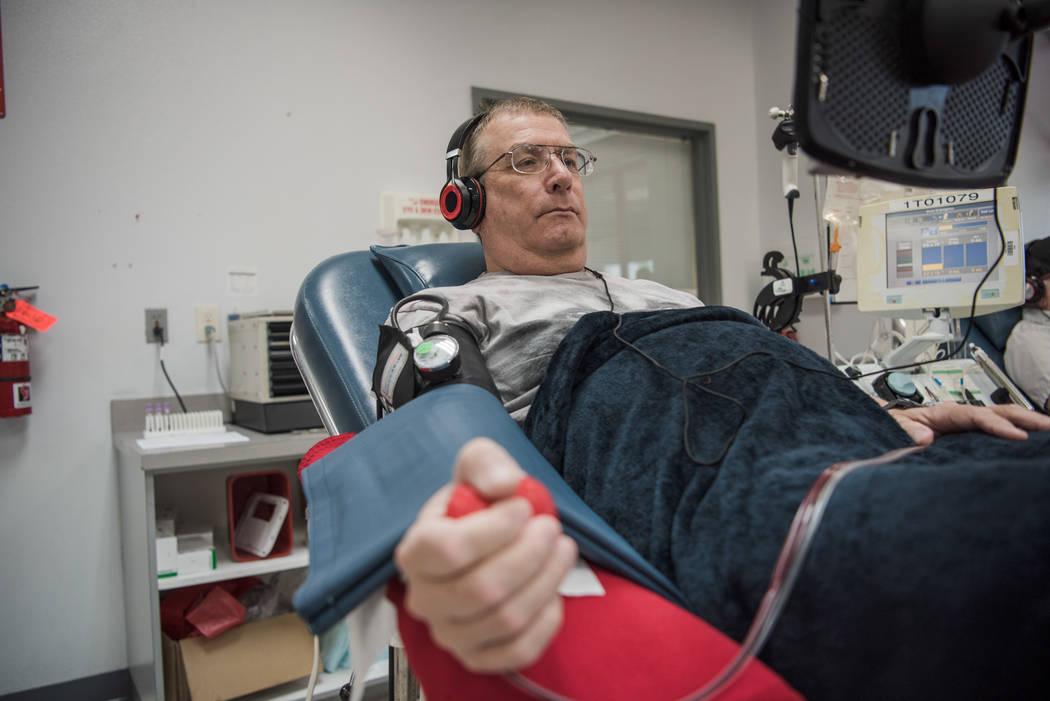 "Dan Borkowski watches ""Silver Streak"" while donating blood at United Blood Services on Tuesday, Aug. 29, 2017, in Las Vegas. Morgan Lieberman Las Vegas Review-Journal"