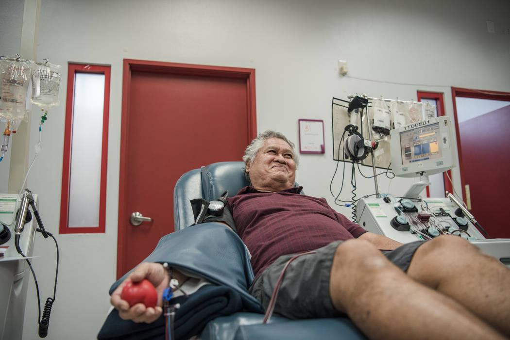 Sam Lum donates blood on a regular basis at United Blood Services on Tuesday, Aug. 29, 2017, in Las Vegas. Morgan Lieberman Las Vegas Review-Journal