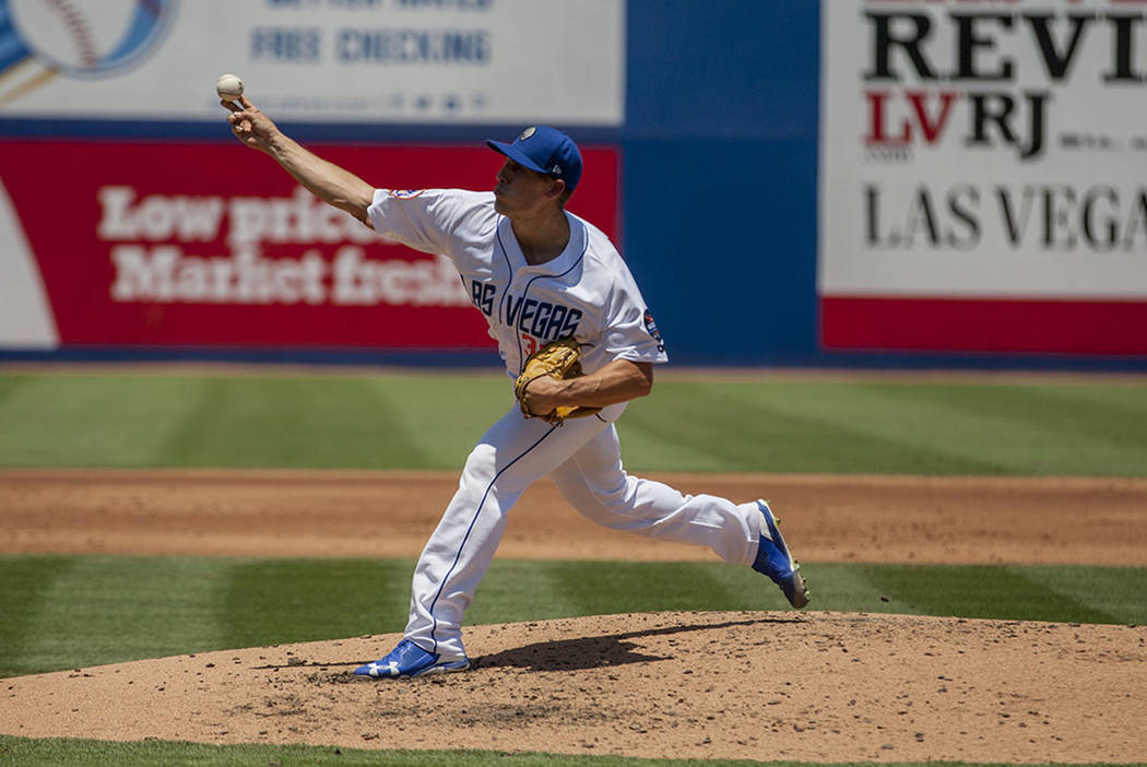 Las Vegas 51s pitcher Mitch Atkins pitches against the Salt Lake Bees at Cashman Field on Sunday, June 25, 2017.  Atkins fell to 4-8 with Tuesday's loss at Sacramento. (Patrick Connolly Las Vegas  ...