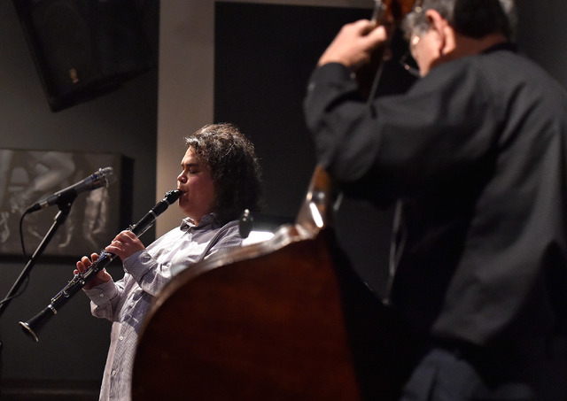 Julian Tanaka, left, and Ken Seiffert perform during a Nomadic Nocturne jazz concert at the Artifice. (David Becker/View)