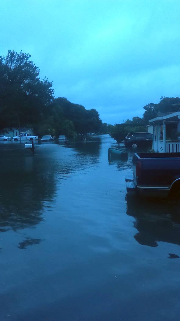 An Orange, Texas, neighborhood, near the Texas-Louisiana border, after being hit by Tropical Storm Harvey on Wednesday, Aug. 30, 2017. (Myles Quine)