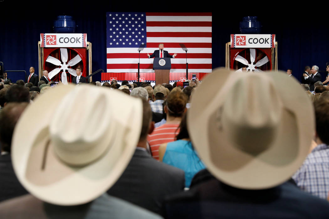Supporters wearing cowboy hats listen as U.S. President Donald Trump speaks about tax reform during a visit to Loren Cook Company in Springfield, Missouri, U.S., August 30, 2017. REUTERS/Kevin Lam ...