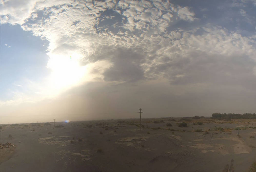 A dust storm moves through Pahrump on Wednesday. (image via National Weather Service via WeatherOk Inc)
