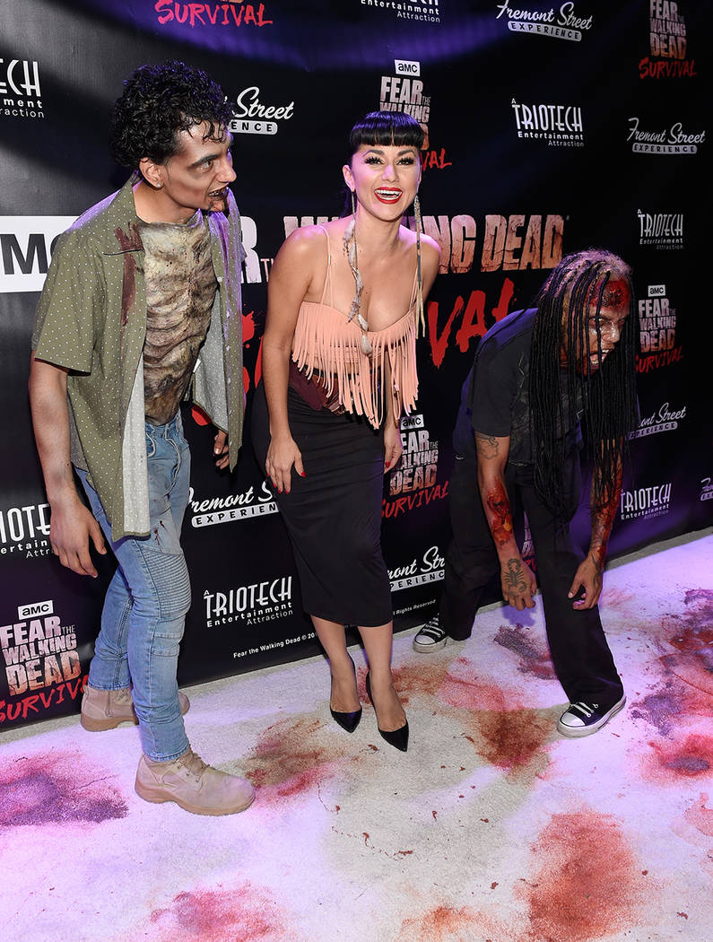 "Melody Sweets, center, arrives at the grand opening of downtown Las Vegas' newest entertainment destination, ""Fear The Walking Dead Survival."" (David Becker/Las Vegas News Bureau)"