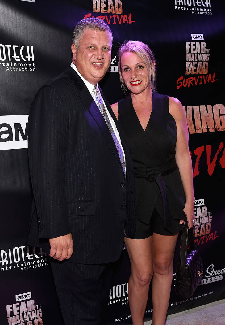 "Derek and Nicole Stevens arrive at the grand opening of downtown Las Vegas' newest entertainment destination, ""Fear The Walking Dead Survival."" (David Becker/Las Vegas News Bureau)"