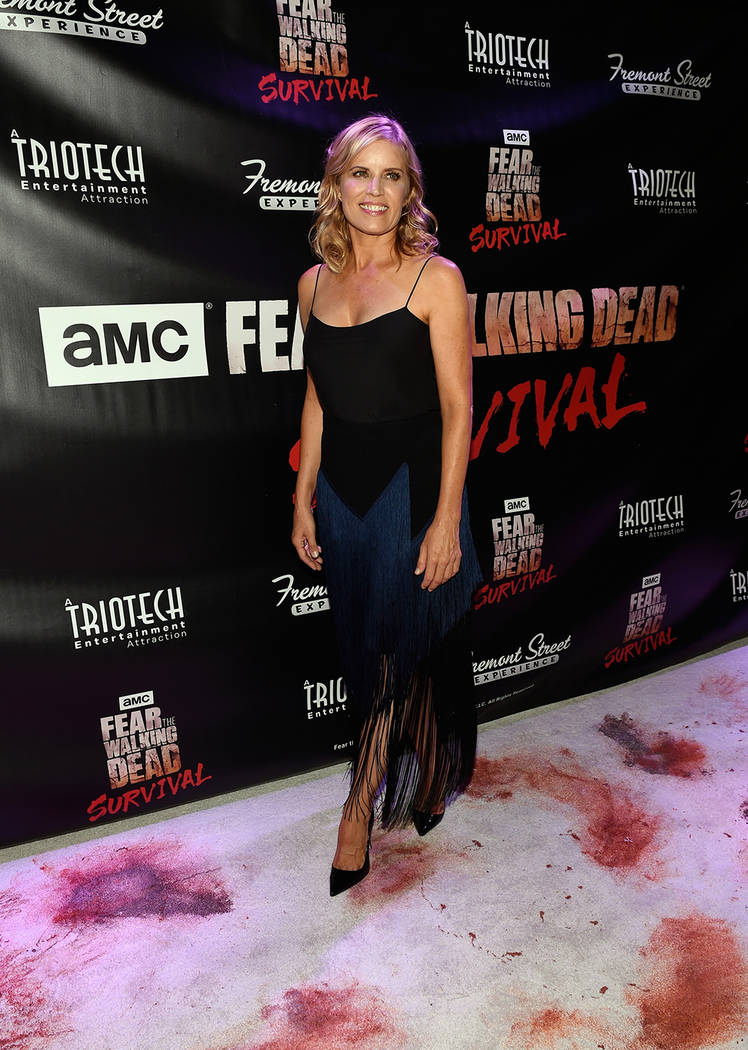 "Actress Kim Dickens arrives at the grand opening of downtown Las Vegas' newest entertainment destination, ""Fear The Walking Dead Survival."" (David Becker/Las Vegas News Bureau)"