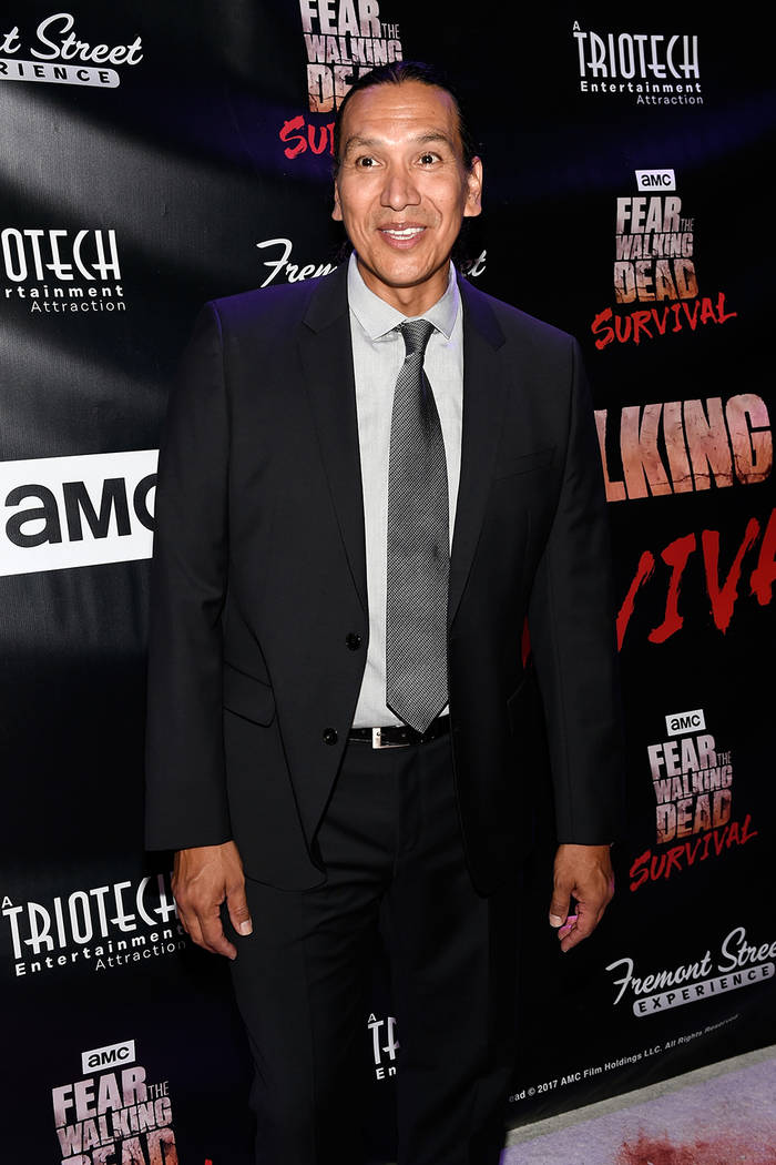 "Actor Michael Greyeyes arrives at the grand opening of downtown Las Vegas' newest entertainment destination, ""Fear The Walking Dead Survival."" (David Becker/Las Vegas News Bureau)"