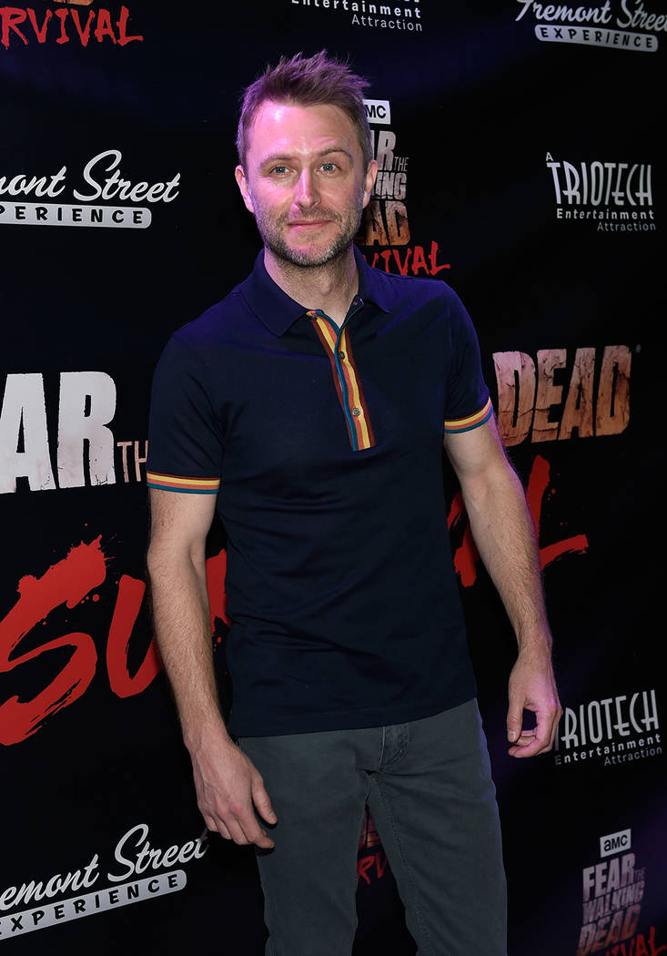 "Comedian and Nerdist Founder and CEO Chris Hardwick arrives at the grand opening of downtown Las Vegas' newest entertainment destination, ""Fear The Walking Dead Survival."" (David Becker/Las Vegas  ..."