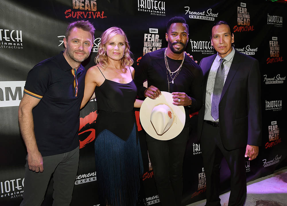 "Television personality Chris Hardwick, left, and actors Kim Dickens, Coleman Domingo and Michael Greyeyes arrive at the grand opening of downtown Las Vegas' newest entertainment destination, ""Fear ..."