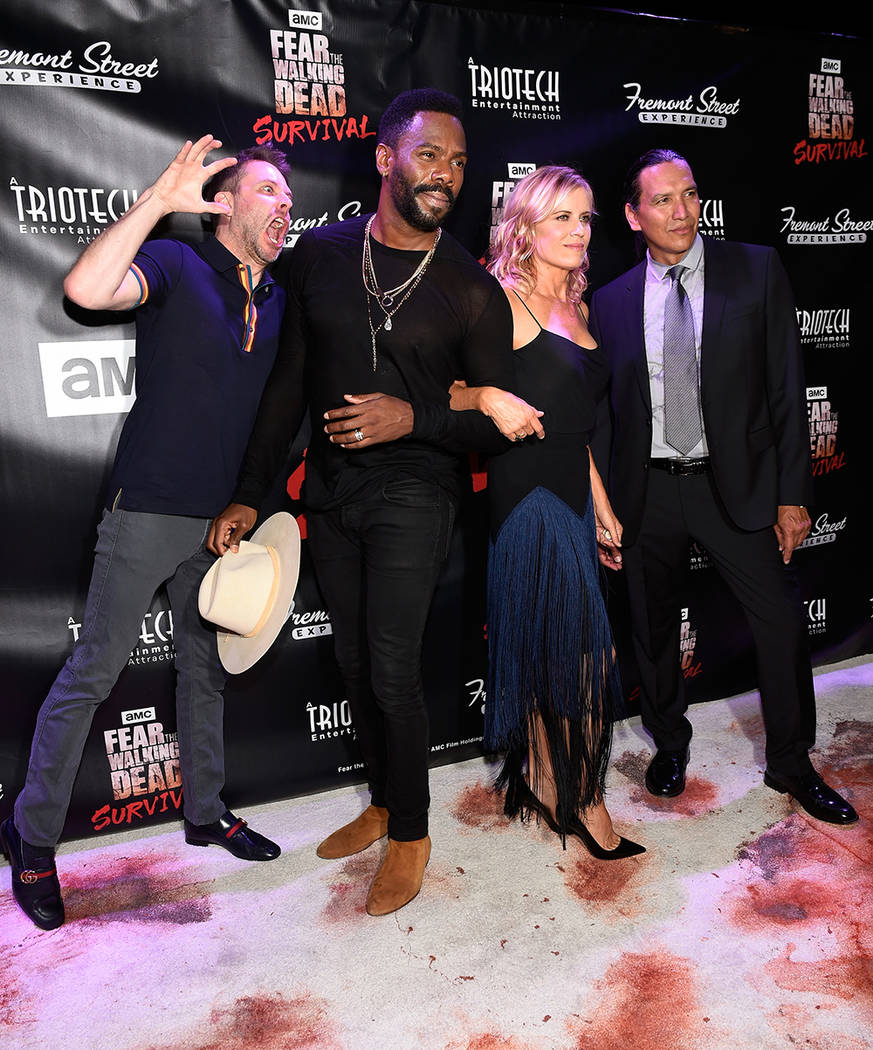 "Television personality Chris Hardwick, left, and actors Coleman Domingo, Kim Dickens and Michael Greyeyes arrive at the grand opening of downtown Las Vegas' newest entertainment destination, ""Fear ..."