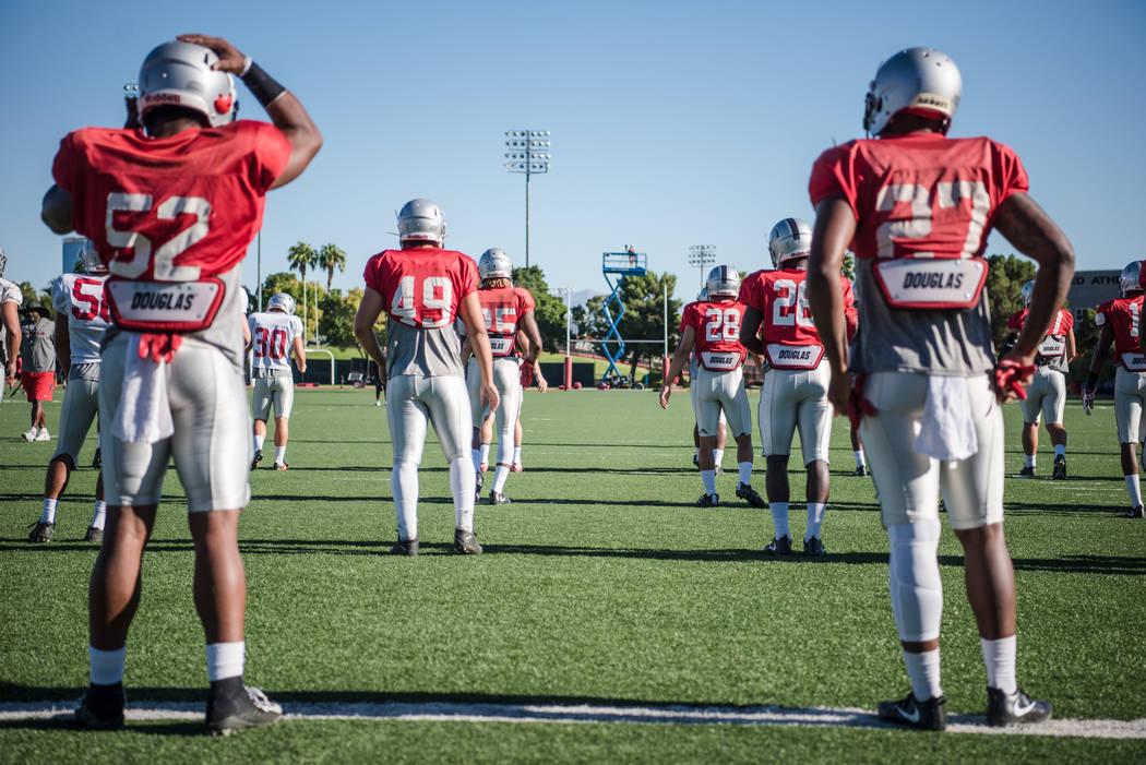 UNLV  football players at UNLV Rebel Park during practice on Saturday, Aug. 19, 2017, in Las Vegas. Morgan Lieberman Las Vegas Review-Journal