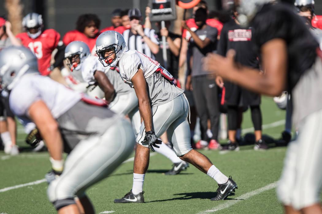 UNLV Men's Football wide receiver Brandon Presley, center,  at practice at UNLV Rebel Park on Saturday, Aug. 19, 2017, in Las Vegas. Morgan Lieberman Las Vegas Review-Journal