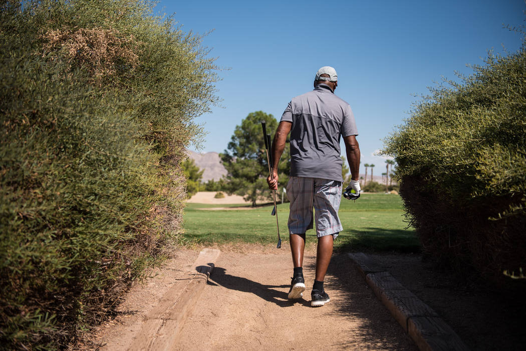 Michael Slocum heads into the course at Desert Pines Golf Course on Wednesday, Aug. 30, 2017, in Las Vegas. Morgan Lieberman Las Vegas Review-Journal