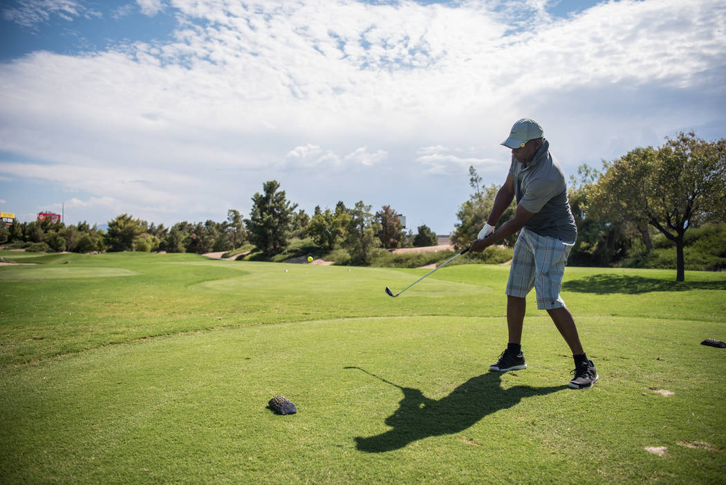 Michael Slocum practices his swing at Desert Pines Golf Course on Wednesday, Aug. 30, 2017, in Las Vegas. Morgan Lieberman Las Vegas Review-Journal