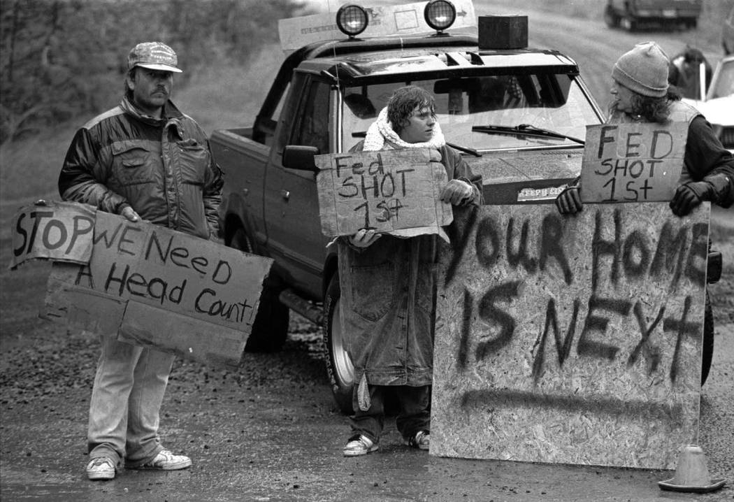 Randy Weaver supporters at Ruby Ridge in northern Idaho, Aug. 23, 1992. It's been a quarter century since a standoff in the remote mountains of northern Idaho left a 14-year-old boy, his mother an ...