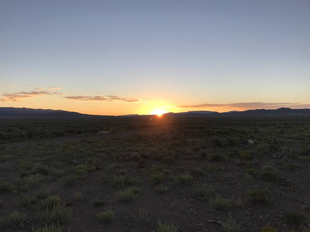 The sun rises over pronghorn antelope habitat in eastern Nevada. The animals prefer wide-open country with low-growing vegetation so they can take advantage of the excellent eyesight. Photo by Dou ...