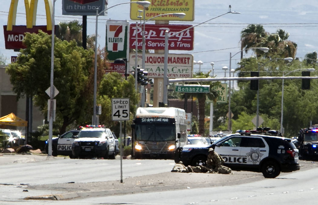 Police are investigating an incident where a man fired a gun on a Regional Transportation Commission bus at 836 N. Nellis Blvd. on Wednesday, Aug. 30, 2017, in Las Vegas. (Bizuayehu Tesfaye/Las Ve ...