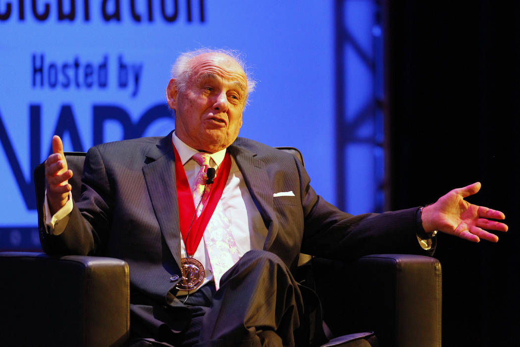 Former Villanova coach Rollie Massimino reminisces about his career at the National Collegiate Basketball Hall of Fame induction ceremony Sunday, Nov. 24, 2013, in Kansas City, Mo. (AP Photo/Colin ...