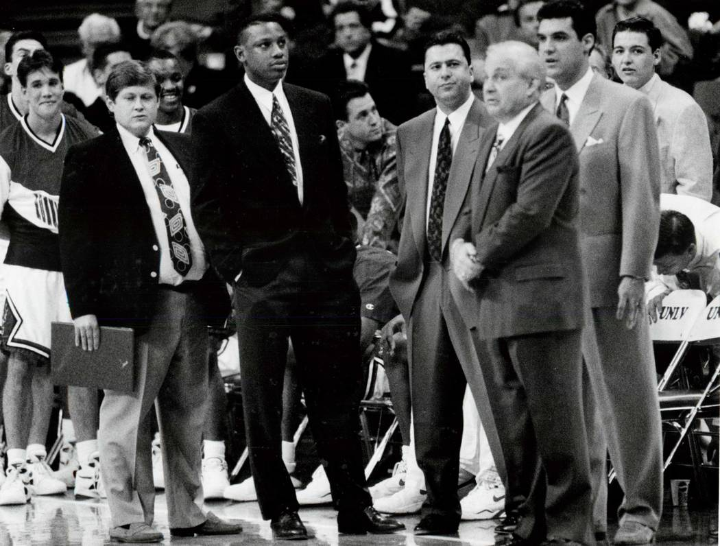 Rollie Massimino, third from right, was the head basketball coach at UNLV from 1992 to 1994. Massimino died on Wednesday, Aug. 30, 2017. He was 82. (Las Vegas Review-journal)