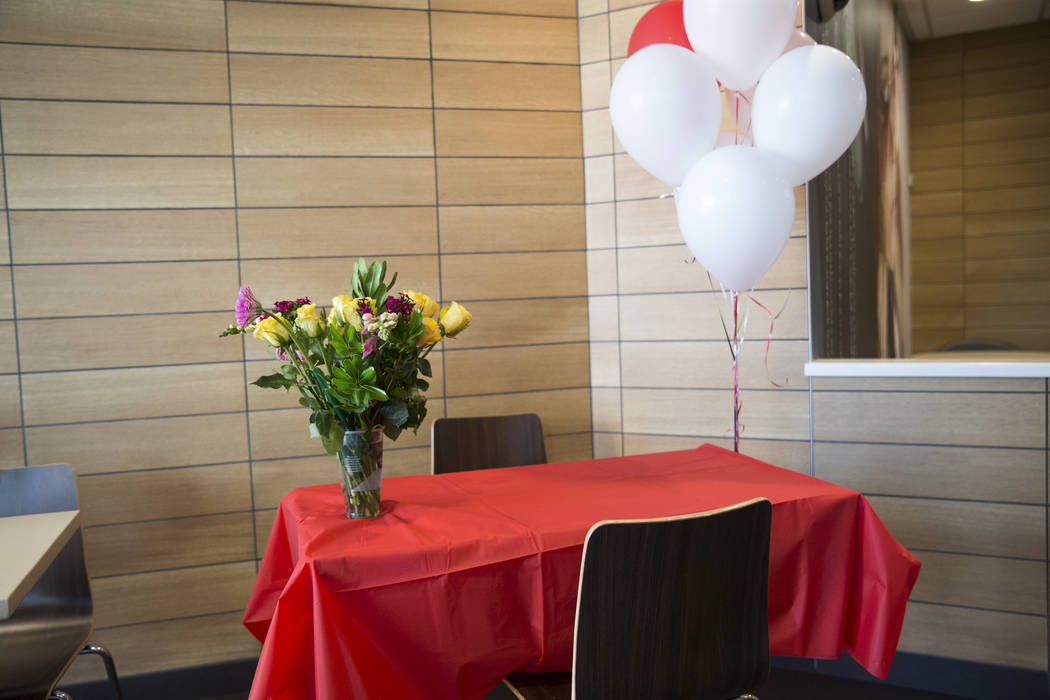 A table set up for job interviews at McDonald's, 900 S Rampart Blvd., in Las Vegas, on Wednesday, Aug. 30, 2017. McDonald's opened their doors for walk-in interviews in all Las Vegas restaurants t ...