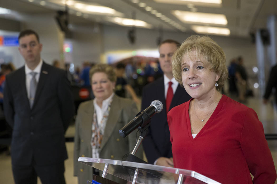 Lorie Dankers, public affairs managers for the Transportation Security Administration, during a news conference on new automated screening lanes at McCarran International Airport Terminal 1 in Las ...
