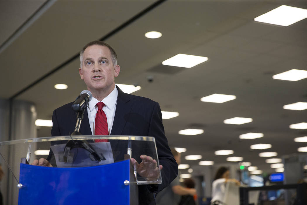 Steve Karoly, acting assistant administrator for the office of requirement and capabilities at the Transportation Security Administration, during a news conference on new automated screening lanes ...