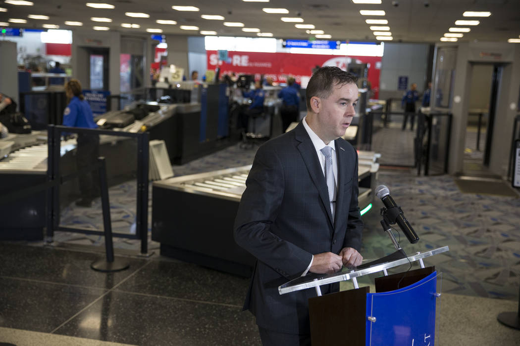 Chris Jones, airport chief marketing officer at the Clark County Department of Aviation, during a news conference on new automated screening lanes at McCarran International Airport Terminal 1 in L ...