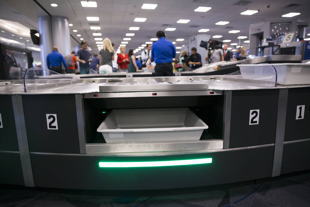 A new automated screening lanes at McCarran International Airport Terminal 1 in Las Vegas, on Thursday, Aug. 31, 2017. Erik Verduzco Las Vegas Review-Journal @Erik_Verduzco
