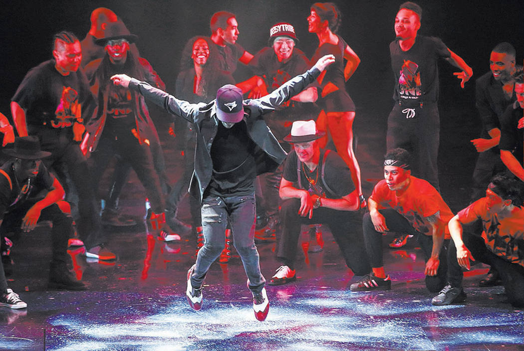 """Michael Jackson One"" cast members during a one-time-only performance to Michael Jackson's ""Blood on the Dance Floor"" on the date of Jackson's birthday at Mandalay Bay in Las Vegas on Tuesday, Aug ..."