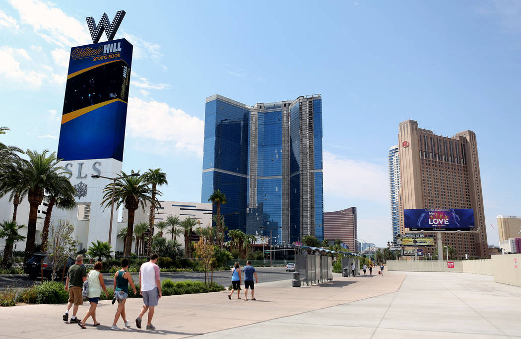 The unfinished Fontainebleau on the Las Vegas Strip, center, has been sold again, as seen Thursday, Aug. 31, 2017. Elizabeth Brumley Las Vegas Review-Journal
