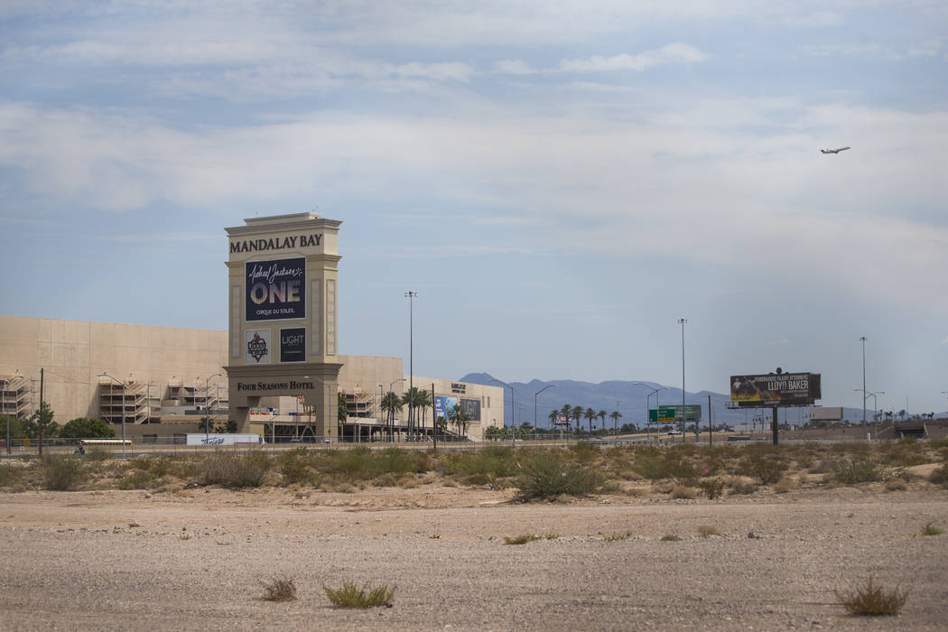 The north end of the planned Las Vegas Raiders stadium in Las Vegas on Thursday, Aug. 31, 2017. An underground flood-control culvert cuts through the area. Chase Stevens Las Vegas Review-Journal @ ...