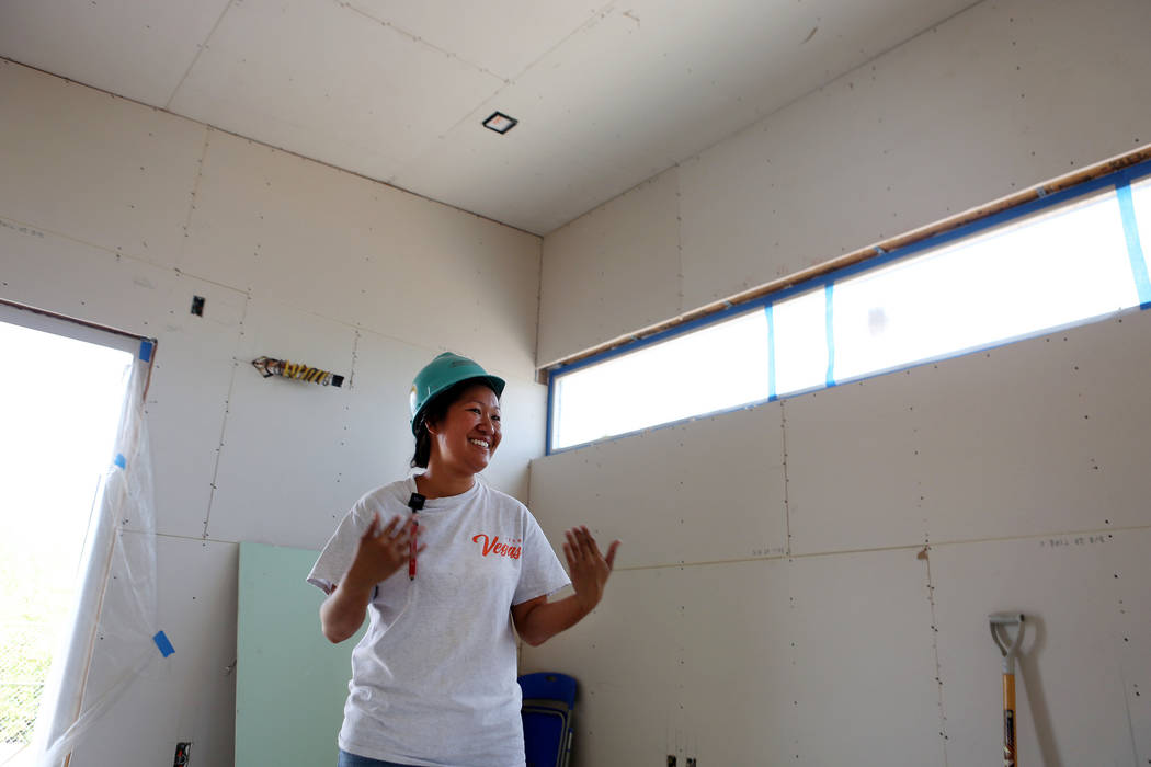 Kalewalani Bancaco, project manager for the UNLV team of students at UNLV's Paradise Campus in Las Vegas, Tuesday, Aug. 29, 2017 . The team will compete in the U.S. Department of Energy's Solar De ...