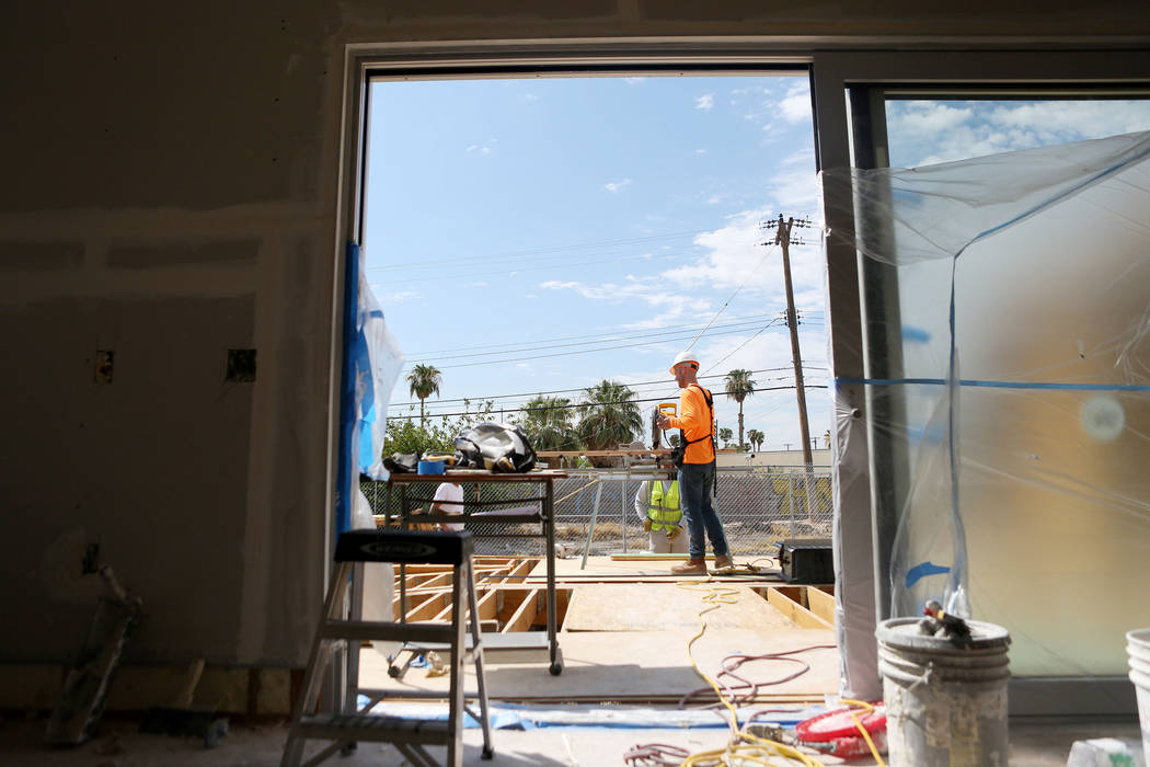 A solar-powered house which UNLV students design and build from the ground up on UNLV's Paradise Campus in Las Vegas, Tuesday, Aug. 29, 2017.  The UNLV's team of students will compete in the U.S.  ...