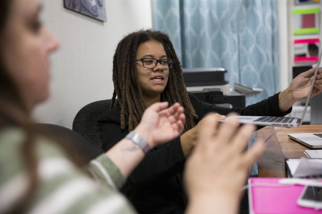 Makaya Swain, program director at The Embracing Project, at the Las Vegas office on Thursday, June 15, 2017. The nonprofit is a leading advocate for sexually exploited youths in Clark County. Erik ...