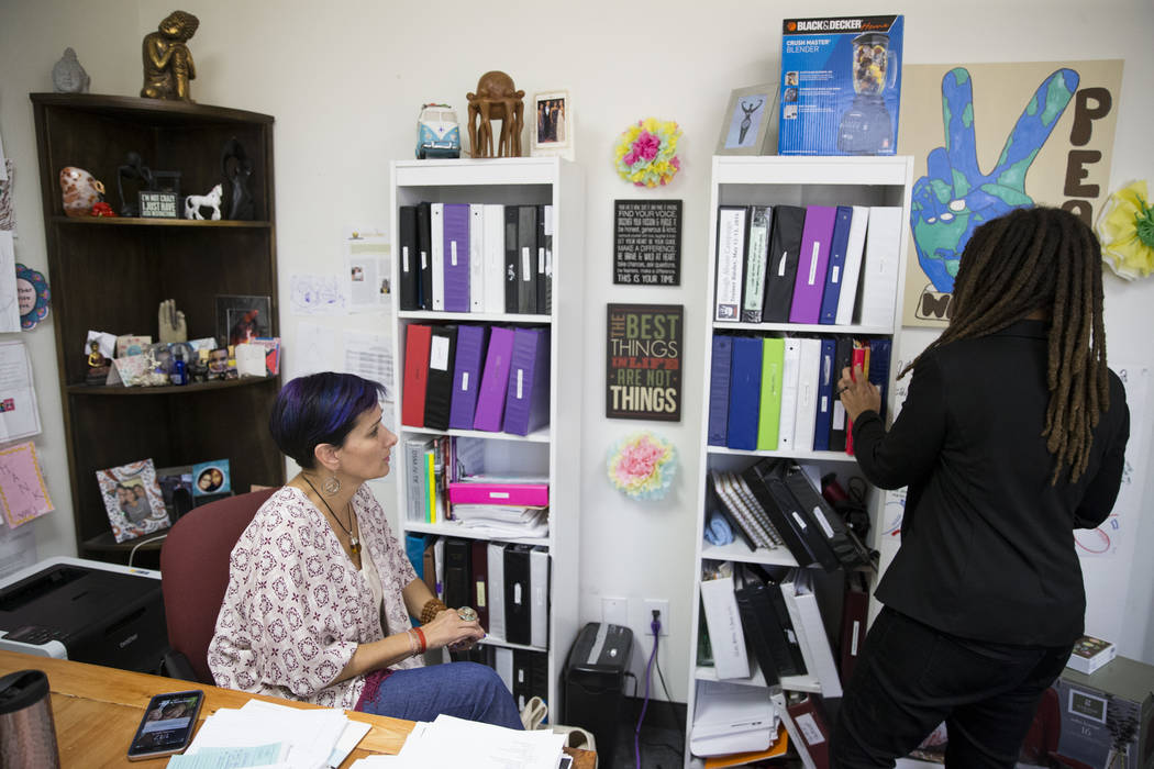 The Embracing Project founder Esther Rodriguez Brown, left, and program director Makaya Swain, at the Las Vegas office on Thursday, June 15, 2017. The nonprofit is a leading advocate for sexually  ...