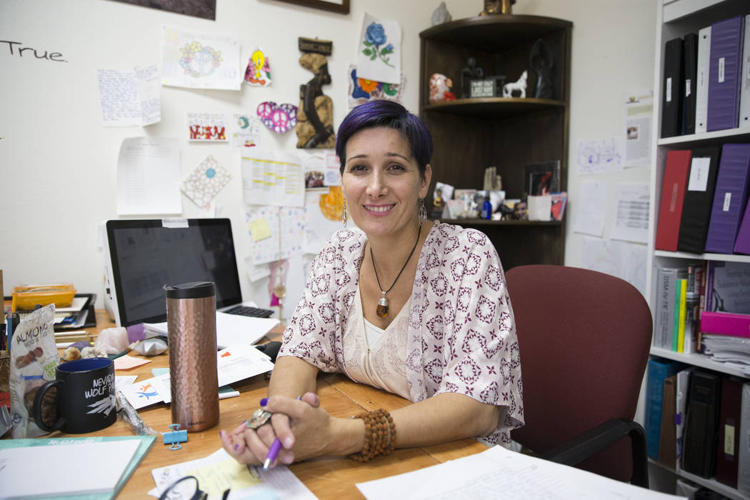Esther Rodriguez Brown, founder of The Embracing Project, at her Las Vegas office on Thursday, June 15, 2017. The nonprofit is a leading advocate for sexually exploited youths in Clark County. Eri ...