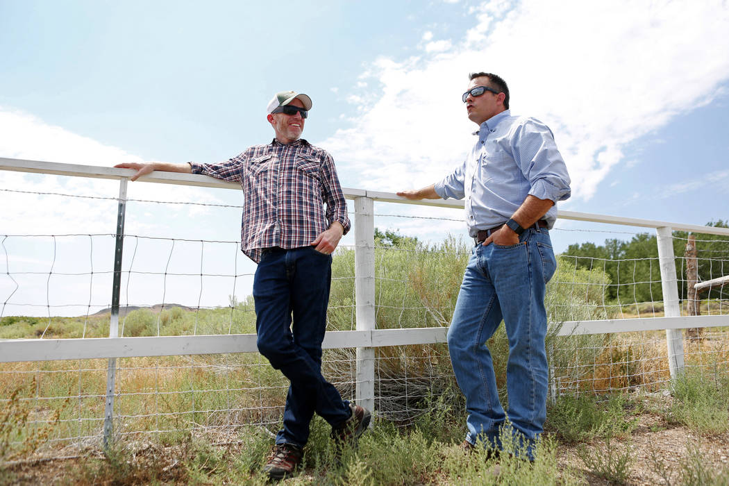 Water quality and water resource public information officer Bronson Mack, left, and director of the resources and facilities for the Southern Nevada Water Authority Zane Marshall at the new sheep  ...