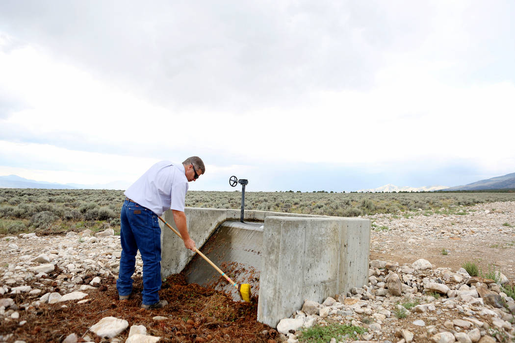 Ranch and resource manager Bernard Petersen cleans off the box screen that get debris out of an irrigation line at Great Basin Ranch in Spring Valley, Monday, Aug. 7, 2017. Elizabeth Brumley Las V ...