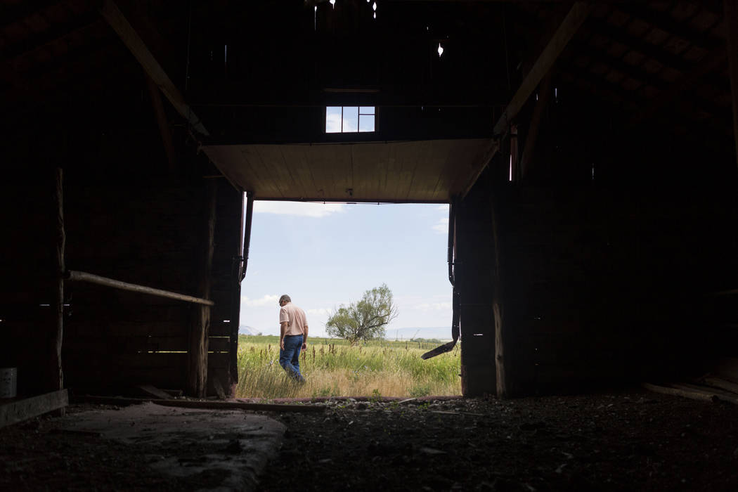 Ranch and resource manager Bernard Petersen gives a tour of Old Home ranch a historic area that will be preserved on Great Basin Ranch in Spring Valley, Tuesday, Aug. 8, 2017. Elizabeth Brumley La ...