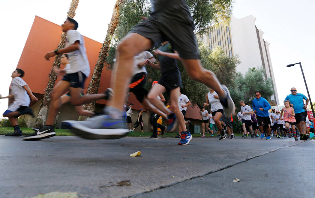 Runners begin the 5k Fun Run during the annual Run Walk Roll Against Bullying at UNLV in Las Vegas, Saturday, Sept. 30, 2017. Chitose Suzuki Las Vegas Review-Journal @chitosephoto