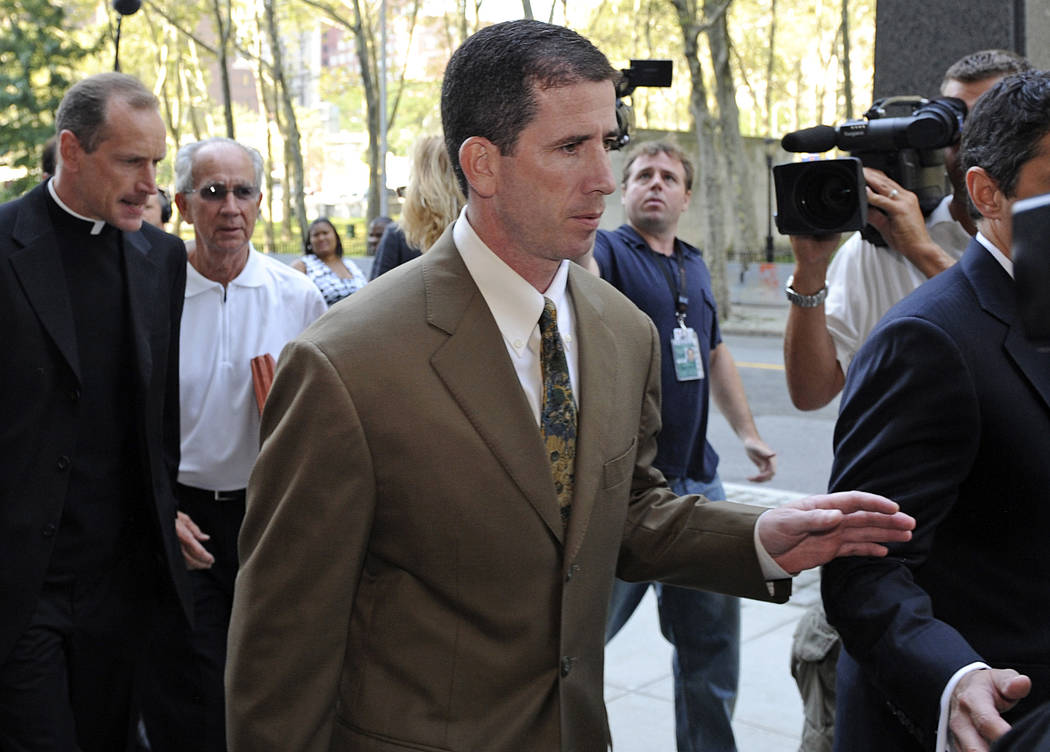 Former NBA referee Tim Donaghy arrives at Brooklyn federal court for his sentencing, Tuesday, July 29, 2008, in New York. Donaghy pleaded guilty in August 2007 to federal charges that he took payo ...
