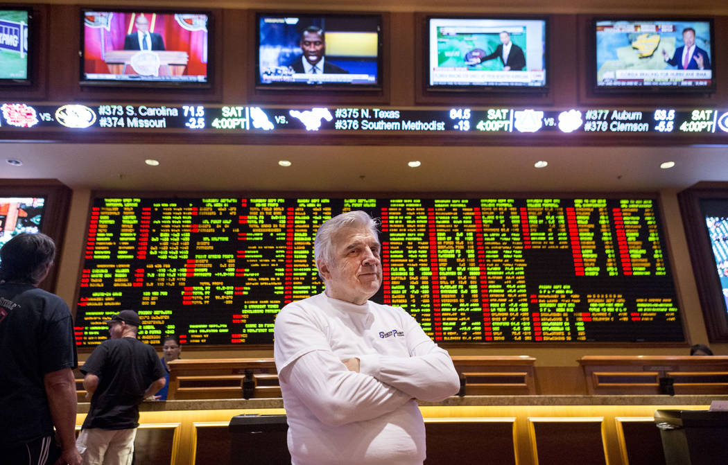 Oddsmaker Jimmy Vaccaro at the South Point hotel- casino's sports book in Las Vegas, Thursday, Sept. 7, 2017. Elizabeth Brumley Las Vegas Review-Journal