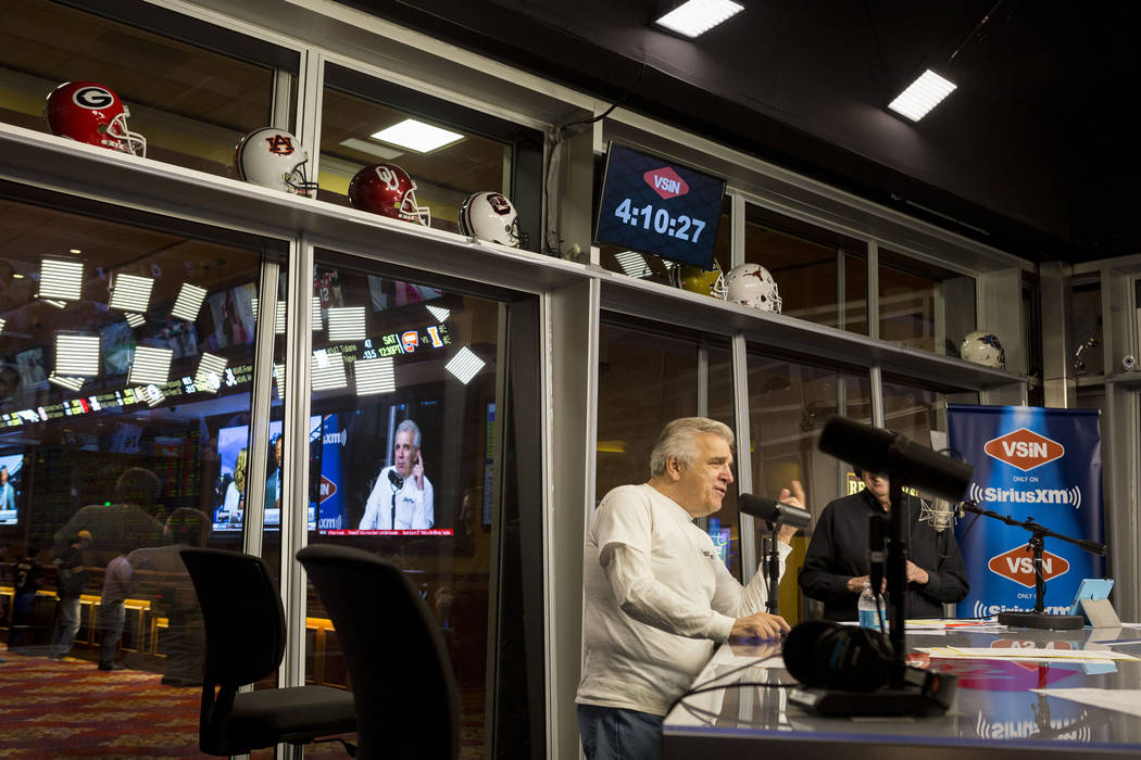 OddsMaker Jimmy Vaccaro guest host for VSiN radio on SiriusXM at the South Point sports book in Las Vegas, Thursday, Sept. 7, 2017. Elizabeth Brumley Las Vegas Review-Journal