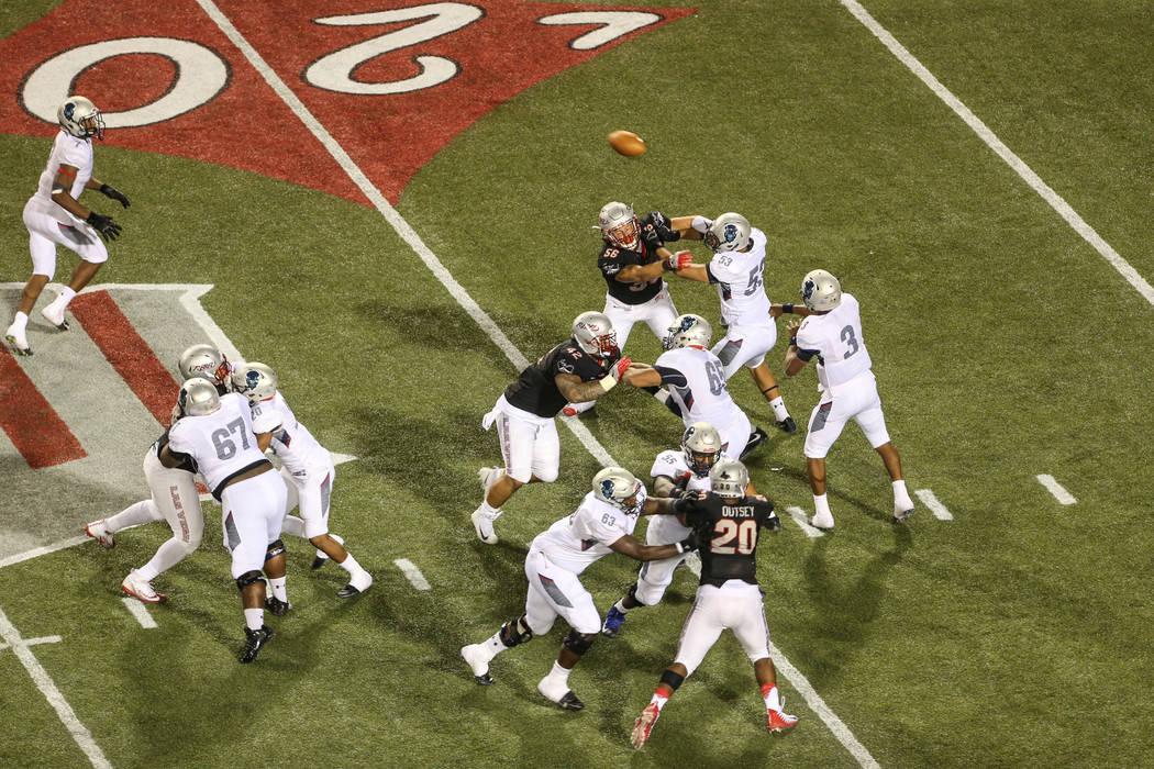 Howard Bison quarterback Caylin Newton (3) throws a pass against UNLV during the second quarter at Sam Boyd Stadium in Las Vegas, Saturday, Sept. 2, 2017. Joel Angel Juarez Las Vegas Review-Journa ...