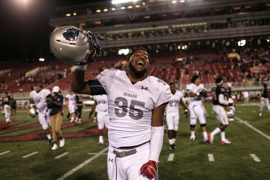 Howard Bison linebacker Devin Hurtado (35) celebrates after defeating UNLV 43-40 at Sam Boyd Stadium in Las Vegas, Saturday, Sept. 2, 2017. Howard won 43-40. Joel Angel Juarez Las Vegas Review-Jou ...