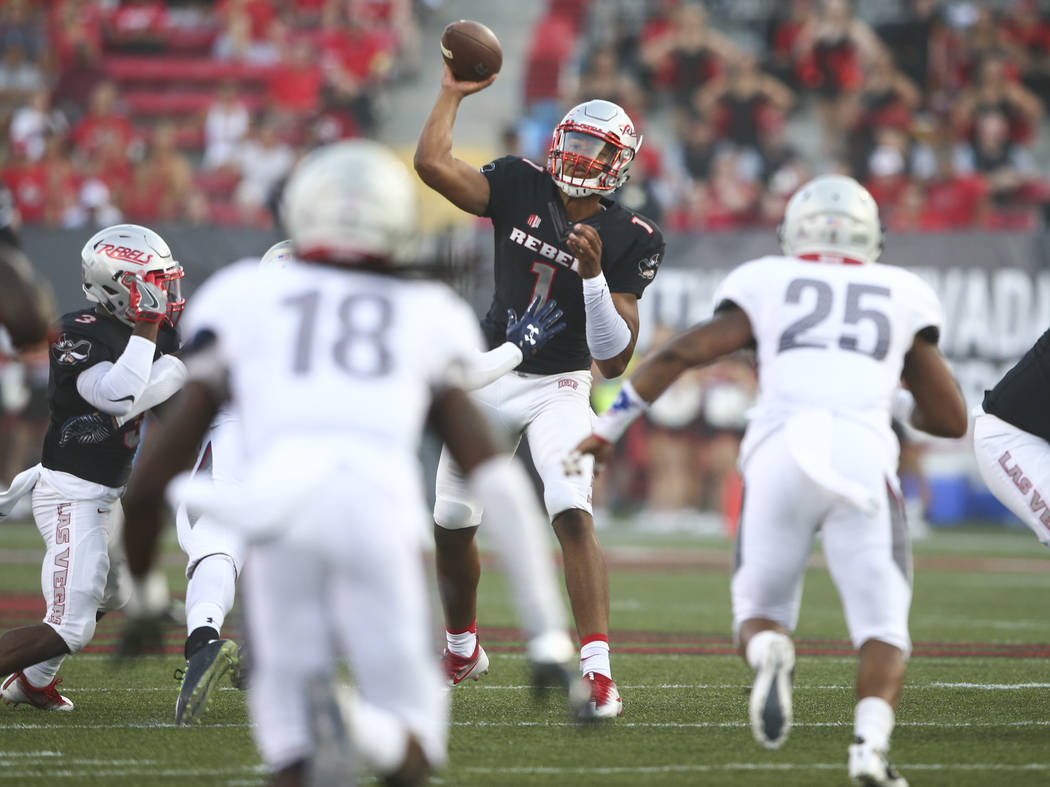 UNLV quarterback Armani Rogers (1) makes a pass during a football game against Howard at Sam Boyd Stadium in Las Vegas on Saturday, Sept. 2, 2017. Chase Stevens Las Vegas Review-Journal @csstevens ...